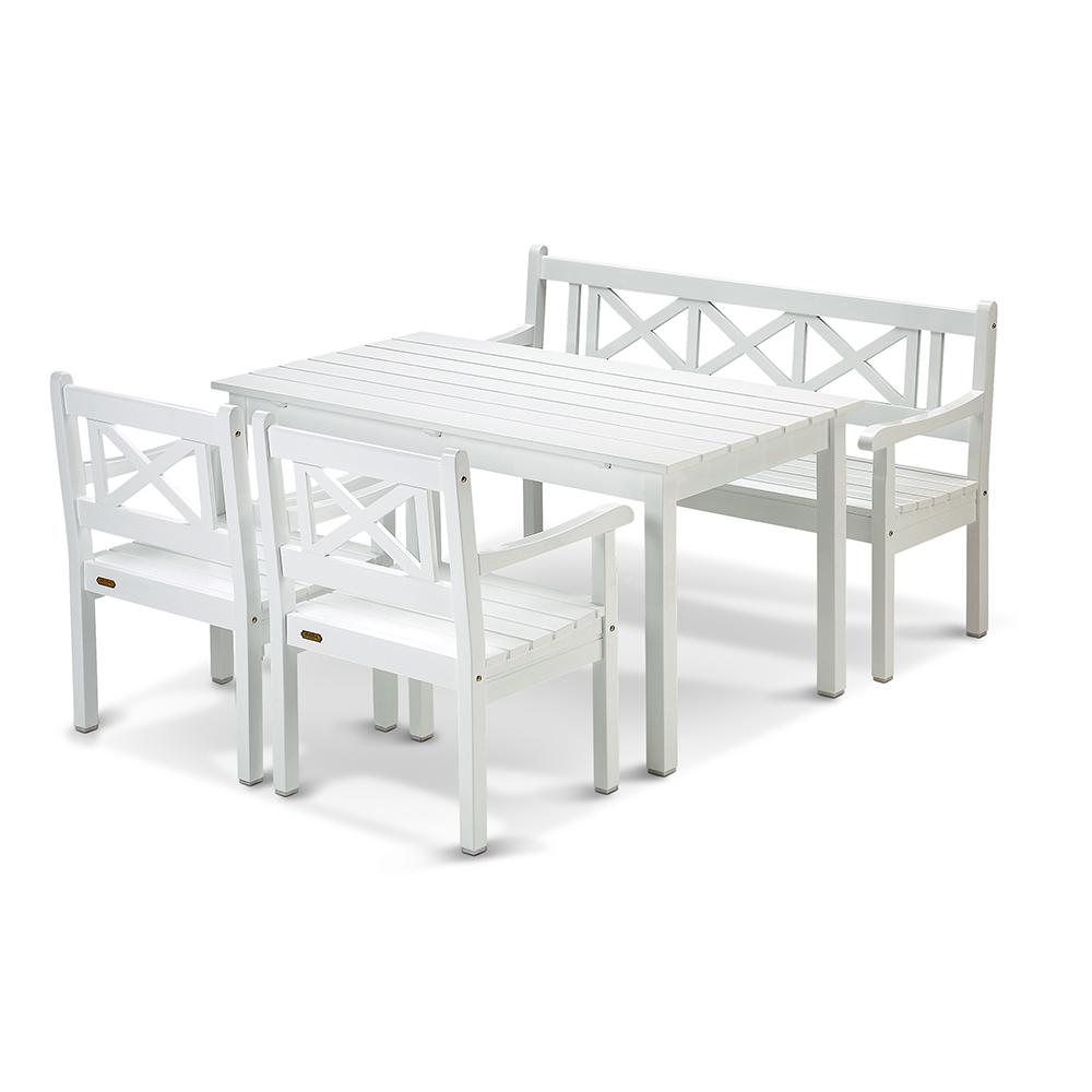 Unike Skagen Sæt (1 bord, 1 bænk, 2 stole), hvid - Havemøbler - Heile Møbler RJ-66