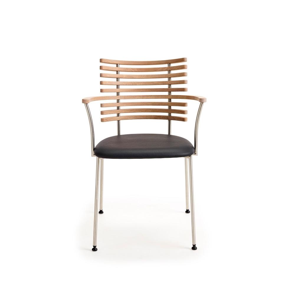 Tiger Armstol, Stel Rustfrit Børstet Stål Spisebordsstole